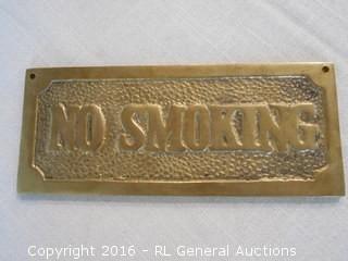"""Vintage Brass No Smoking / Smoking Reversible Sign  7.5"""" L X 3"""" T"""