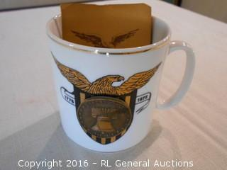 Bicentennial Coin Mug w/ 23K Gold - The Commemoration of our Nations 200th Anniversary 1776-1976 w/ Certificate