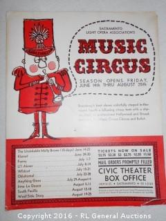 "Vintage Sacramento Light Opera Association's Music Circus Posterboard Pin Up Advertising  13.75"" T X 10.75"" W"