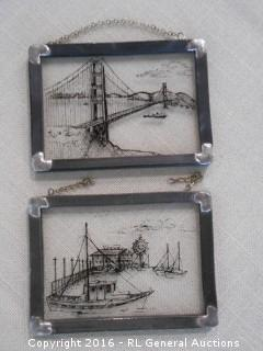 "2 Vintage Etched Leaded Glass Art Pcs  Golden Gate Bridge & Fisherman's Wharf  3.5"" W X 2.5"" T"