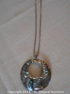 "925 Sterling Silver Necklace w/ Abalone Shell Pendant 2"" Dia."