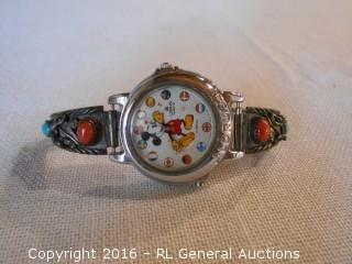 Vintage Disney Mickey Mouse Watch by Lorus w/ Custom Sterling Silver Watch Band Additions w/ Coral & Turquiose