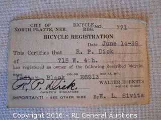 1939 Indian Motorcycle (Bicycle) Registration Card