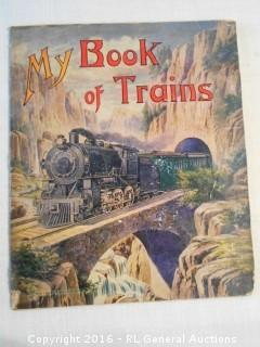 "Antique 1919 My Book of Trains  11.5"" T X 9.5"" W"