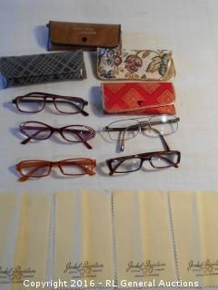 Vintage Reading Glasses , Advertising Cleaning Towels, Cases