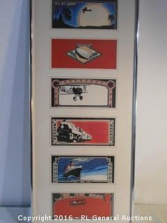 "1976 6 Panel Artwork Signed - Mail Service Transportation  15"" W X 38"" T"