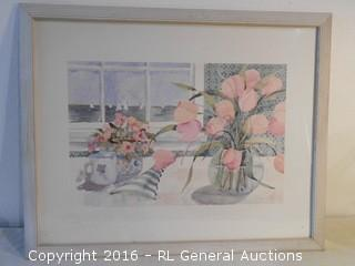 "Large Framed Print Signed 30.5"" W X 24.5"" T"