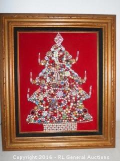 "Vintage Rhinestone Jewelry X-Mas Tree w/ X-Mas Lights Built In 23"" W X 27"" T"