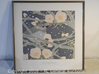 "1988 ""Flowering Quince"" by Sudi McCollum Print 24.75"" W X 24.5"" T"