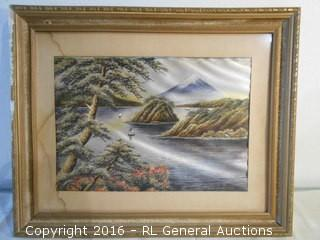 """Vintage Needlepoint Artwork - Needs to be Re-Stretched - 23"""" W X 18.5"""" T"""