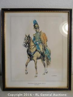 """Antique Cavalry Officer Print - United States of North America 1810-1817  10.75"""" W X 13"""" T"""