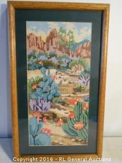 "Vintage Needlepoint Artwork  11.5"" W X 19.5"" T"
