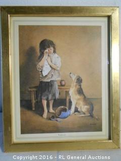 """Vintage Print Artwork """"Friend In Need"""" by Evans  9"""" W X 11.25"""" T"""