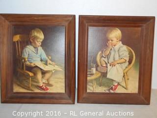 "Pair of Vintage Signed Prints  10"" W X 12"" T"