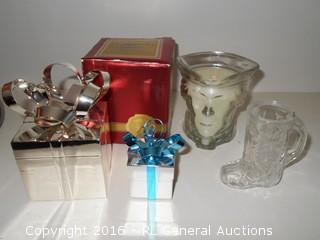 Decorative Lot - Jewelry Box Present, Revolutionary War Candle, Glass Boot