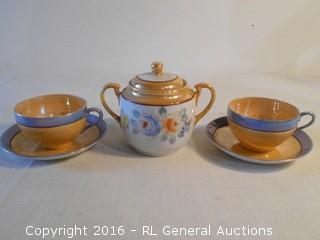 Antique Hand Painted Sugar Bowl w/ Lid & 2 Cup & Saucer Sets Made in Japan