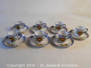 Set of 7 Antique Cup & Saucer Sets Hand Painted - Super Thin & Fragile