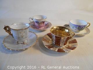 4 Stunning Antique Cup & Saucer Sets - Royal Heidelberg Winterling, Bavaria Germany, Japan (2)