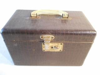 "Vintage Leather Covered Travel Trunk / Makeup Case  11.5"" L X 6.25"" D X 7.5"" T"