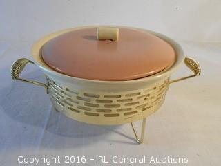 "Vintage Serving Pc w/ Lid & Warmer Base  10"" Dia X 3.25"" D"