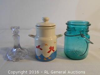 Ball Eagle Jar, Ceramic Goose Jar w/ Lid, Candlestick