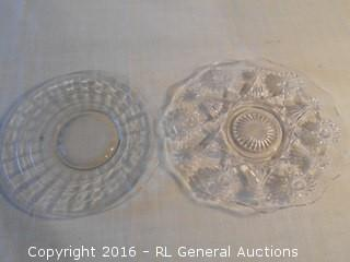 "2 Vintage Glass Serving Platters 10"" & 10.5"" Dia"