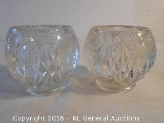 """Heavy / Thick Pressed Glass Candle Holders  4"""" Dia X 4"""" T"""