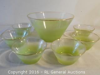 """Large Serving Bowl & 6 Small Bowls - Gold Leaf Rimmed  10.5"""" Dia X 6"""" T"""