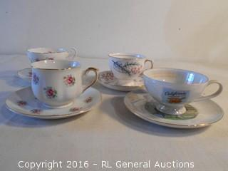 Vintage Cup & Saucer Sets - California The Golden State (Made in Japan), Colclough England, English Castle, FTD