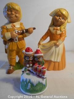 """Vintage Ceramic Seasonal Decor 12"""" Tall Figurines & Owl Music Box"""