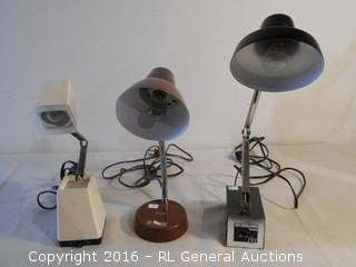 3 Mid Century Desk Lamps