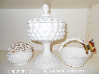 """8.5"""" T Hobnail Milk Glass Lidded Compote, 4"""" Milk Glass Lidded Jar, & 1979 Enesco Maruri Masterpiece Basket w/ Butterfly 5"""" Dia X 4"""" T"""