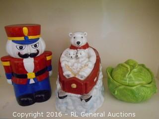 """Coca Cola Polar Bear Cookie Jar 10"""" Tall, Soldier Cookie Jar 11"""" Tall, & Lidded Jar 5.5"""" T"""
