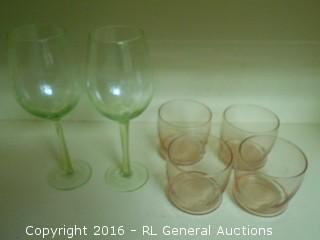 Pair of Etched Grapes Green Stemware & Set of 4 Drinking Glasses (pink)