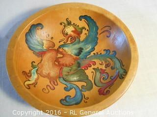 """Antique Munsing Hand Painted Dough Bread Bowl Signed Piece  9"""" Dia."""