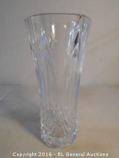"""Heavy Pressed Glass Vase 9.5"""" T X 4.75"""" Dia."""