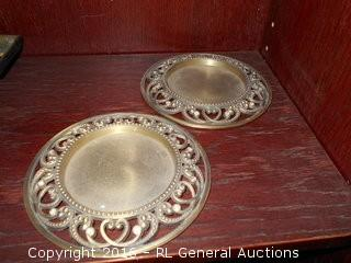 "Pair of Large Candlestick Base Holders w/ Rhinestones 6"" Dia."