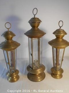 """Vintage Brass Etched Glass Candlestick Lanterns (1) 21"""" Tall (2) 18"""" Tall  As-Is Some Cracks"""