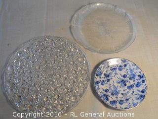 "Large Pressed Glass Platter 12"" Dia., Platter 10.5"" Dia. , & Plate 7.5"" Dia."