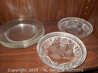 Vintage Pressed Glass Candy Dish's & Clear Plates