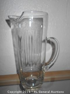 """Etched Liquor Pitcher 9"""" Tall"""