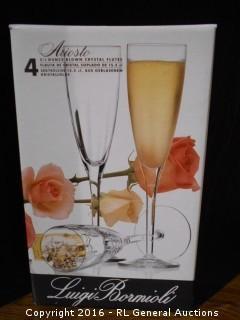 "New Luigi Bormioli ""Ariosto"" 5.25 Oz Blown Crystal Flutes - Stem Glasses Set of 4"