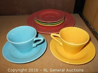 Vintage Homer Laughlin Cups, Saucers, & Plates Lot - Great Vintage Colors