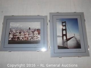 """Dennis Barloga Signed Photos 8"""" W X 10"""" T - Pier 39 San Francisco Gallery w/ Acrylic Frames"""