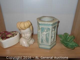"Vintage Ceramics Lot - Unique Vase w/ Glass Insert 7"" Tall, Vintage Bust Planter 7"" T, Lidded Ceramic Heart 6"" Dia. & Candy Dish"