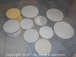 """Large Lot of Rubbermaid Lazy Susan Spinning Space Organizers For Cabinets (3) 15.5"""" Dia, (5)10.5"""" Dia, (2) 2 Tier 10.5"""" Dia."""