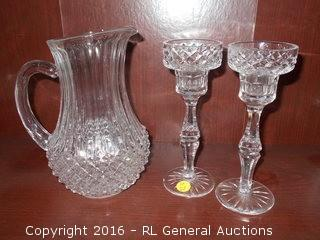 """Pair of Crystal Candlesticks 7.75"""" Tall & Crystal Pitcher 8.25"""" T"""