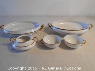 """Antique Dish's w/ Gold Leaf Painted Rims - Turin Bavaria Serving Dish 11.75"""" W, RJE Japan 11.75"""" W, Pope-Bosser, Carlsbad Austria Cups"""