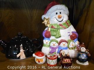 "Snowman Cookie Jar 9.5"" Tall, Teapot, Decorative Mini Candles, & Ornaments"