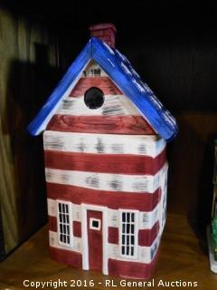 "American Flag House Cookie Jar - Sakura China Kimble  13"" T X 6.25"" W X 6.5"" D"